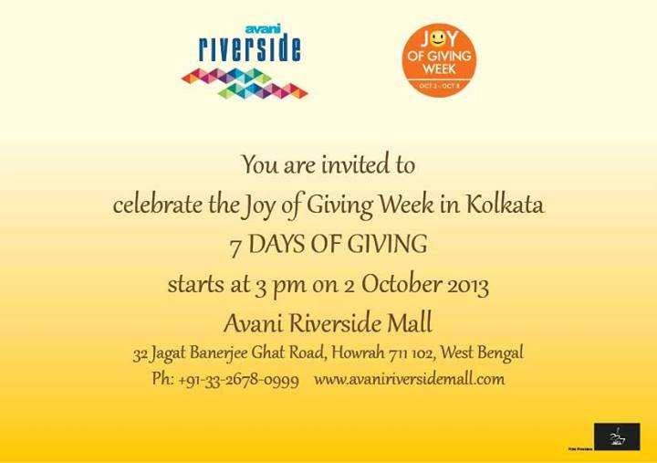 Joy In Giving: Celebrate Joy Of Giving Week From 2 To 8 October 2013 At