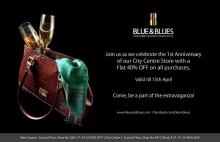 Blue & Blues City Centre Salt Lake 1st Anniversary offer, Flat 40% off on all purchases until 15 April 2013