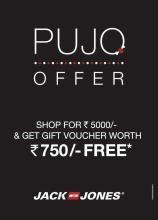 Deals in Kolkata, Calcutta - Pujo Offer - This festive season all the Jack & Jones fans in Kolkata can shop at Jack & Jones worth Rs 5000 and get a voucher worth Rs 750 absolutely FREE!