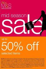 Deals - Marks & Spencer mid season sale, upto 50% off on selected items  Enjoy the Mid-season sale of Mars & Spencer at MantriSquare. choose from a wide range of apparels, footwear, body washes,body butters, etc..