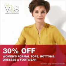 Marks & Spencer Irresistible Offer on Women's Dresses, Formal Bottoms, Footwear & Formal Tops - 30% off