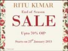 The Ritu Kumar End Of Season Sale - Upto 70% off*. 11.am to 8.pm