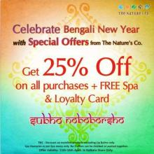 Bengali New Year special offer from The Nature's Co - Get 25% off on all purchases + Free Spa & Loyalty Card